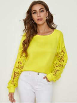 Long Sleeve Top Contrast Lace Polyester Neon Guipure Lace Sleeve Solid Top Clearance