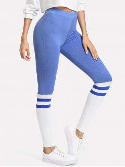 Sporty Regular Striped and Colorblock Blue Cropped Length Two Tone Striped Leggings