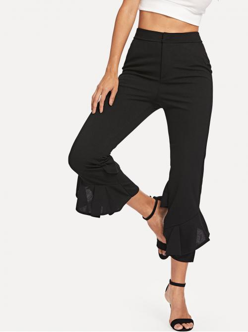 Elegant and Glamorous Plain Flare Leg Regular Zipper Fly Mid Waist Black Cropped Length Tiered Flare Leg Pants