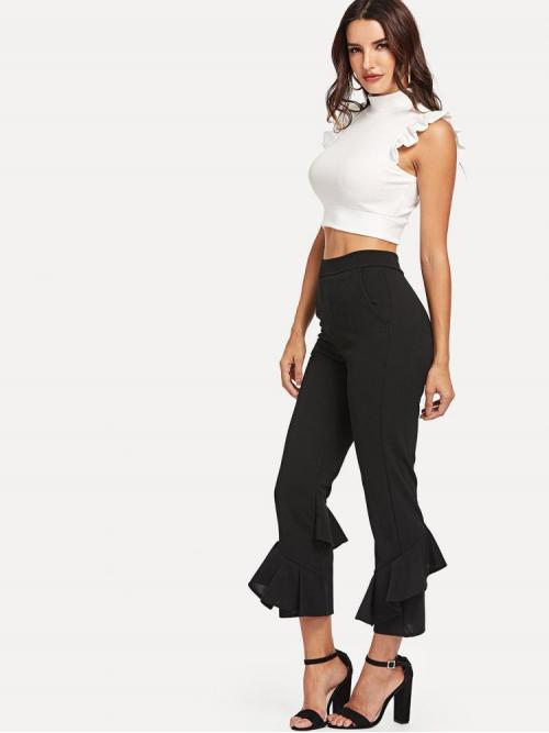 Black Natural Waist Tiered Layer Flare Leg Tiered Pants Sale