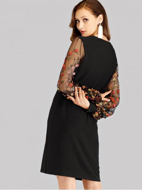 Black Striped Embroidery Round Neck Contrast Mesh Detail Dress on Sale