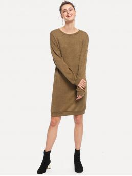 Casual Plain Round Neck Long Sleeve Army Green Midi Length Drop Shoulder Solid Dress
