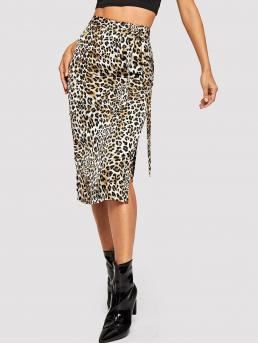 Glamorous Pencil Leopard High Waist Multicolor Long/Full Length Tie Waist Leopard Print Skirt with Belt