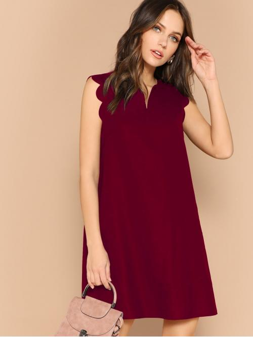 Casual Tunic Plain Straight Loose Notched Sleeveless Natural Burgundy Short Length V-neck Scallop Edge Tunic Dress