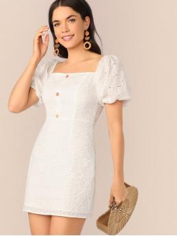 Boho Plain Regular Fit Square Neck Short Sleeve High Waist White Short Length Button Front Puff Sleeve Schiffy Dress with Lining