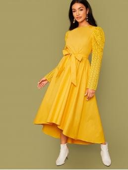 Elegant A Line Plain Asymmetrical Regular Fit Round Neck Long Sleeve Puff Sleeve High Waist Yellow and Bright Long Length Schiffy Sleeve High Low Belted Dress with Belt