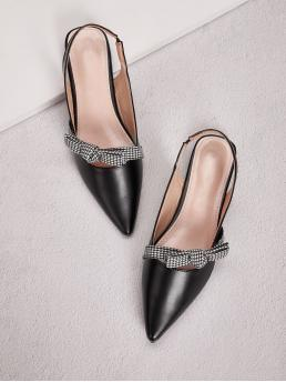 Comfort Point Toe Houndstooth Black Houndstooth Knot Slingback Flats