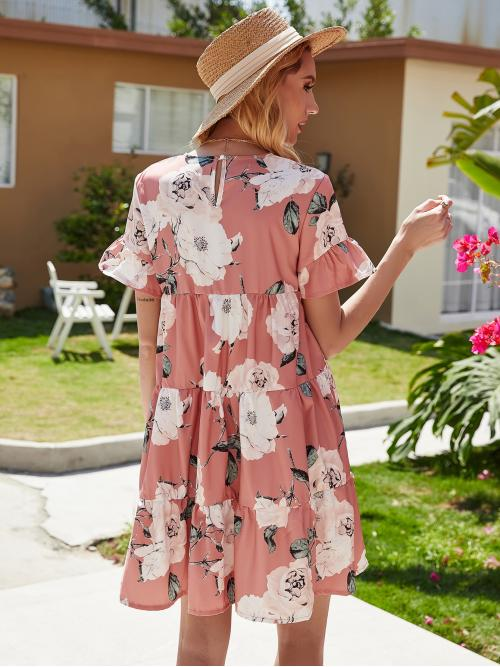 Dusty Pink all over Print Ruffle Hem Round Neck Allover Floral Sleeve Dress Beautiful