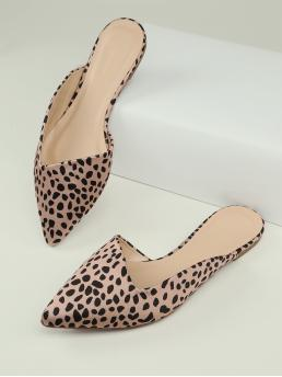 Cheap Multicolor Mules Point Toe Fabric Cheetah Print Pointy Toe Slide on Flat