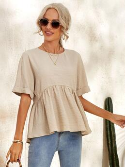 Fashion Short Sleeve Peplum High Low Polyester Solid Top