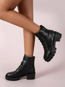 Clearance Black Pu Leather Rubber Cotton Blends Buckle Decor Chunky Heeled Combat Boots