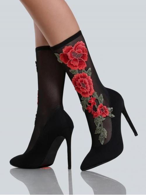 Ladies Polyester Black Stretch Boots Embroidery Floral Ankle Heels Multi