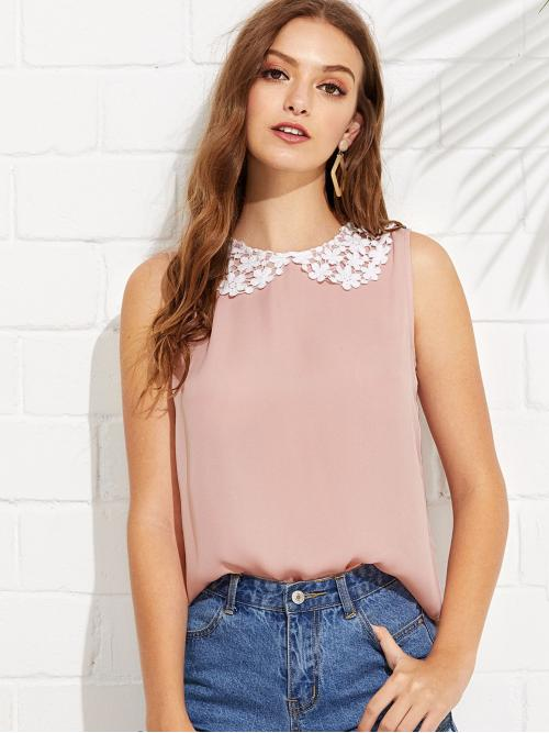 Sleeveless Top Button Dusty Pink Lace Peter Pan Collar Shell Top Sale
