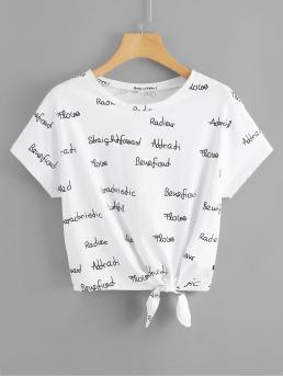 Casual Letter Regular Fit Round Neck Short Sleeve Pullovers Black and White Regular Length Allover Letter Graphic Knot Front T-shirt