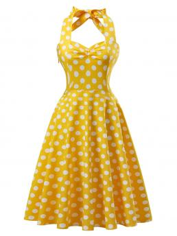 Vintage Fit and Flare Polka Dot Ball Gown Regular Fit Halter Sleeveless High Waist Yellow Midi Length Polka Dot Knot Back Flare Dress