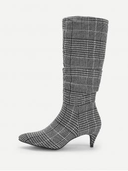 Other Point Toe Houndstooth Side zipper Black and White Mid Heel Stiletto Houndstooth Detail Pointed Toe Boots