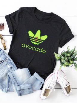 Casual Letter and Fruit&Vegetable Regular Fit Round Neck Cap Sleeve Roll Up Sleeve Pullovers Black Regular Length Letter And Fruit Graphic Rolled Cuff Tee
