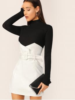 Elegant Straight Plain High Waist White Mini Length Faux Leather Notched Waist Buckle Belted Skirt with Belt