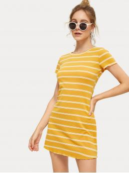 Casual Striped Regular Fit Round Neck Short Sleeve High Waist Yellow Short Length Striped Ribbed Dress