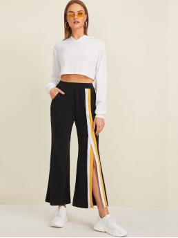 Sporty Striped Flare Leg Regular Elastic Waist High Waist Black Long Length Contrast Panel Split Pocket Side Pants