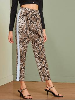Casual Snakeskin Print Straight Leg Regular Elastic Waist High Waist Multicolor Cropped Length Snakeskin Contrast Panel Crop Pants