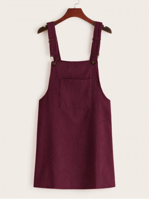 Casual Pinafore Plain Straight Regular Fit Straps Sleeveless Natural Burgundy Short Length Pocket Front Corduroy Pinafore Dress