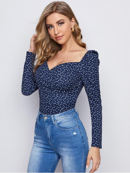 Cheap Long Sleeve Top Polyester all over Print Confetti Heart Print Top