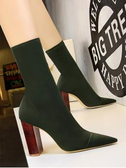 Trending now Army Green Stretch Boots High Heel Chunky Heeled Sock Boots