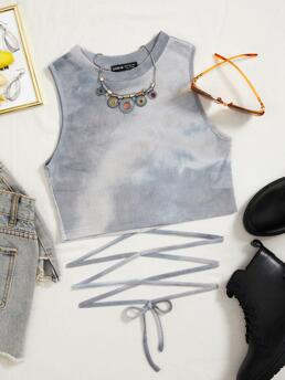 Tank Lace up Polyester Tie Dye Waist Top Shopping
