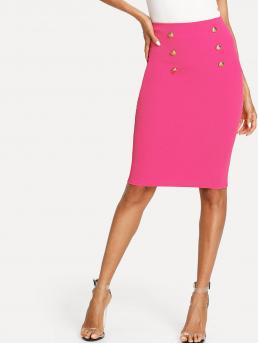 Pink Natural Waist Double Button Pencil Skirt on Sale