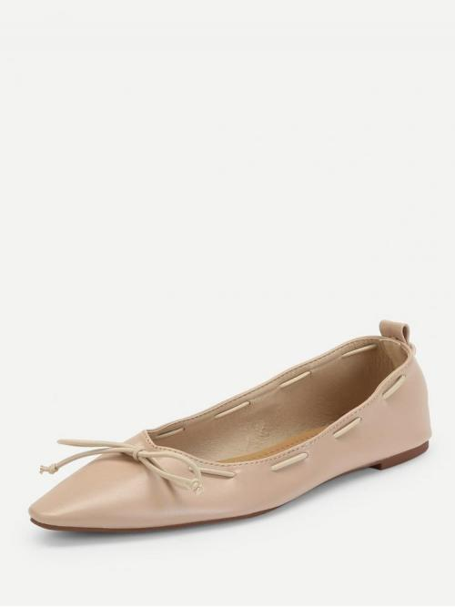 Beautiful Corduroy Pink Mules Bow Tie Flats