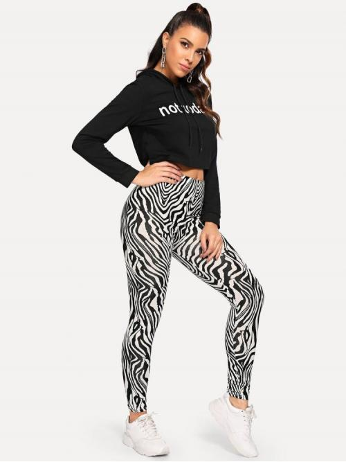 Black and White High Waist Contrast Mesh Regular Zebra Print Leggings Affordable