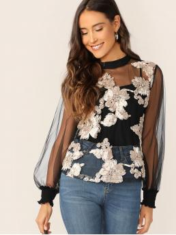 Sexy Top Regular Fit Round Neck Long Sleeve Bishop Sleeve Pullovers Black Regular Length Applique Detail Lantern Sleeve Mesh Top Without Cami
