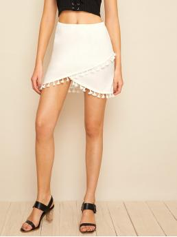 Boho Asymmetrical Plain Mid Waist White Above Knee/Short Length Tassel Hem Wrap Bodycon Skirt