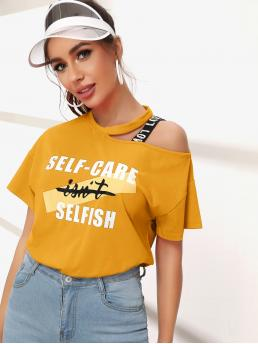 Casual Slogan Regular Fit Asymmetrical Neck Short Sleeve Pullovers Yellow Regular Length Asymmetrical Neck Tape Shoulder Slogan Graphic Top