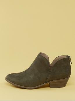 Business Casual Chelsea Boots Almond Toe Plain Back zipper Army Green Mid Heel Chunky Faux Suede Split Shaft Stacked Heel Boots