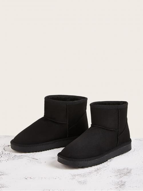 Comfort Other Round Toe No zipper Black Slip On Snow Boots