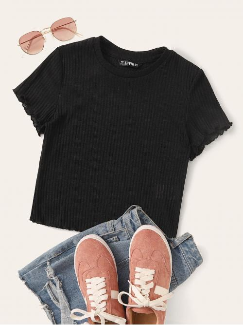 Elegant Plain Slim Fit Round Neck Short Sleeve Regular Sleeve Pullovers Black Regular Length Lettuce Trim Rib-knit Tee
