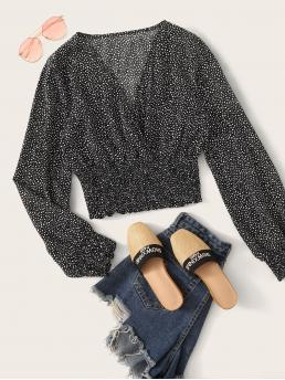 Casual All Over Print Top Regular Fit V neck Long Sleeve Regular Sleeve Pullovers Black and White Crop Length Allover Print Shirred Waist Blouse