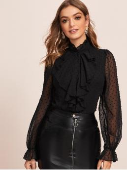 Sexy Plain Shirt Regular Fit Stand Collar Long Sleeve Flounce Sleeve Placket Black Regular Length Jabot Collar Sheer Swiss Dot Blouse with Lining