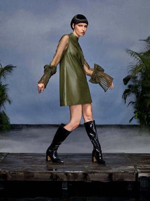 Olive Green Plain Big Bow Stand Collar Contrast Dobby Mesh Panel Bow Cuff Dress on Sale