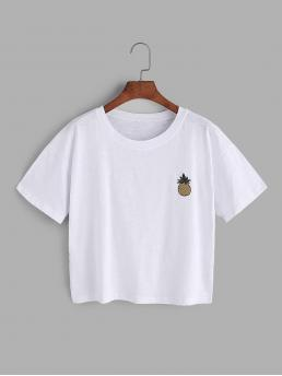 Casual Fruit&Vegetable Regular Fit Round Neck Short Sleeve White Pineapple Embroidered Patch T-shirt