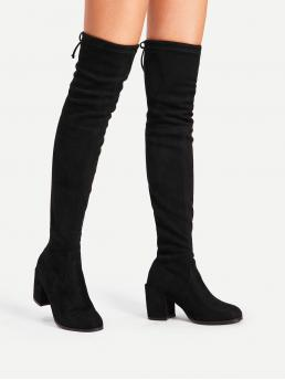 Sock Boots Almond Toe Plain No zipper Black Mid Heel Chunky Tie Back Over Knee Block Heeled Boots