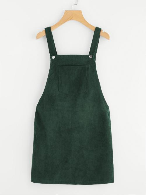 Preppy Pinafore Plain Straight Loose Straps Sleeveless Natural Green Short Length Pocket Front Overall Corduroy Dress