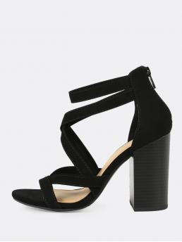 Glamorous Peep Toe Ankle strap and Criss Cross and Strappy Black High Heel Chunky Criss Cross Strappy Open Toe Chunky Heel BLACK