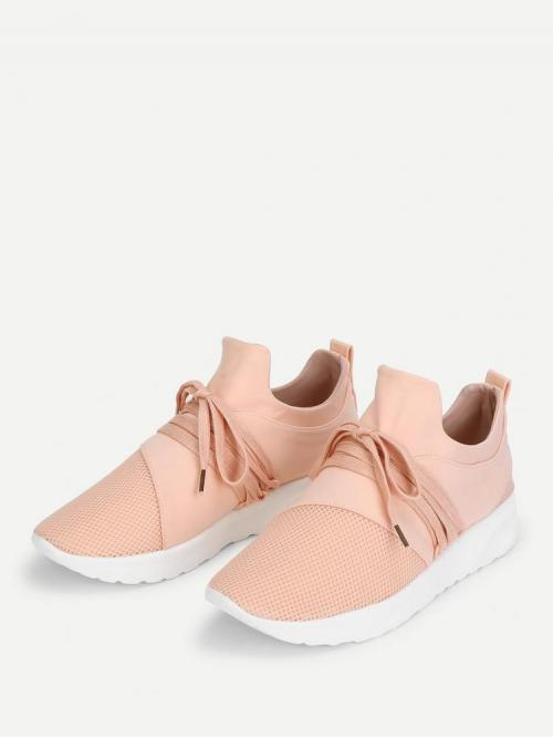 Corduroy Pink Running Shoes Bow Net Design Sneakers on Sale