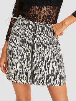 Casual A Line Zebra Stripe Mid Waist Black and White Above Knee/Short Length Animal Print Zip Up Skirt