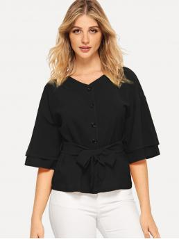 Casual Plain Shirt Regular Fit V neck Half Sleeve DropShoulder Pullovers Black Regular Length Tiered Sleeve Buttoned Belted Blouse with Belt