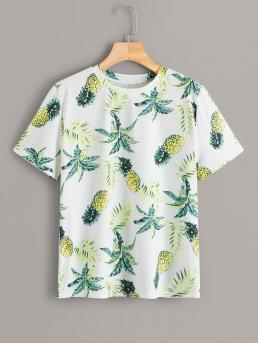 Casual Fruit&Vegetable Regular Fit Round Neck Short Sleeve Pullovers Multicolor Regular Length Pineapple Print Tee