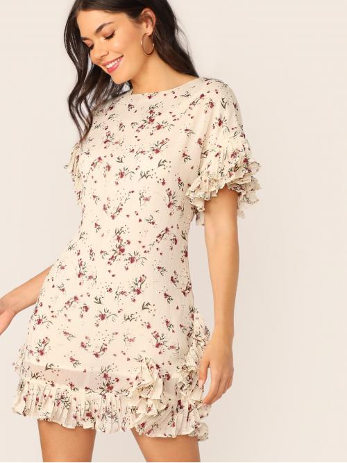 Boho Ditsy Floral Flounce Regular Fit Round Neck Short Sleeve Flounce Sleeve Natural Beige Short Length Layered Ruffle Sleeve Ditsy Floral Print Crepe Dress with Lining